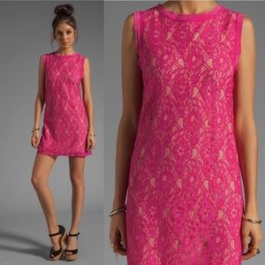 Joie Isette Color Lace Dress Bright Fuchsia, Small